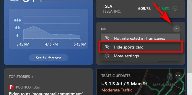 """To hide a card in the widget, click the menu button and select """"Hide Card."""""""