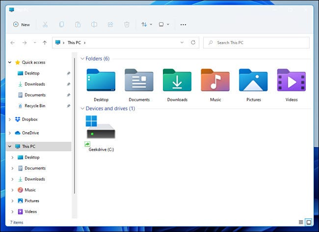 A Windows 11 Preview File Exploerer window