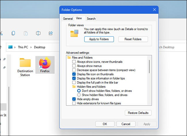 Windows 11 File Explorer Options