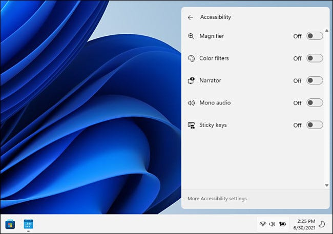 Accessibility options in the Windows 11 Quick Settings menu.