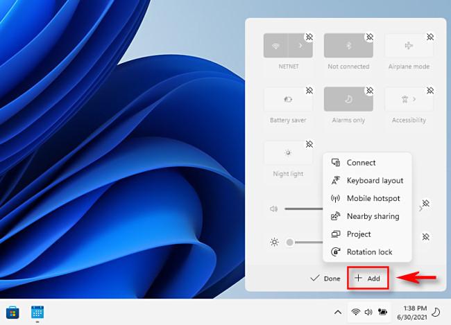 Adding items to the Windows 11 Quick Settings menu.