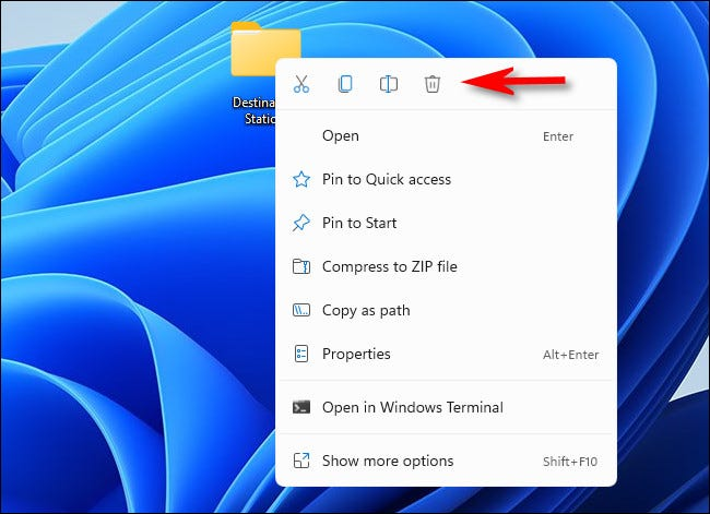 The new right-click menu in Windows 11 Preview