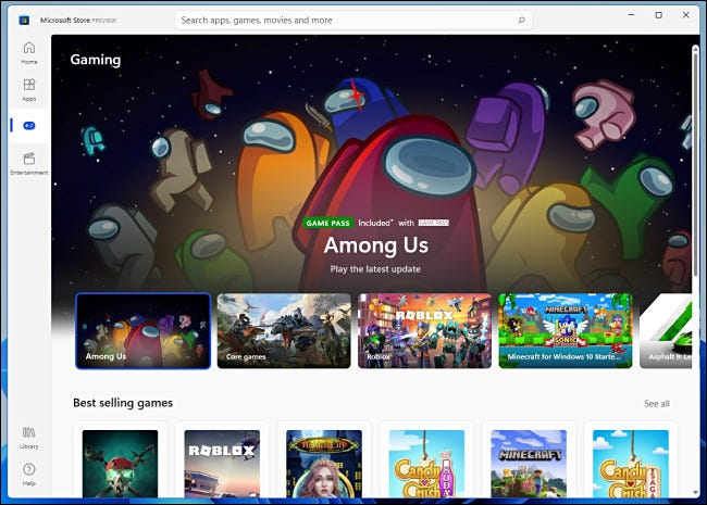 """The """"Gaming"""" category of the Windows 11 Microsoft Store preview."""