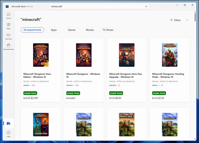 Example search results in the Windows 11 Microsoft Store preview.