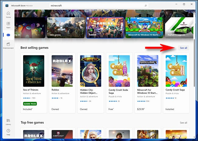 """In the Windows 11 Microsoft store, click """"See All"""" to see more items in an sub-category."""