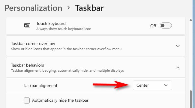 "Click the drop-down menu beside ""Taskbar Alignment."""