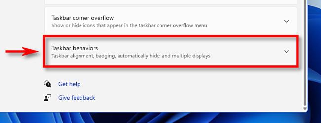"""Click """"Taskbar Behaviors."""""""