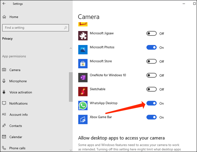 To make video calls, allow WhatsApp access to the camera on Windows 10.