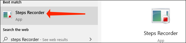 """Click """"Steps Recorder"""" to launch the app in Windows 10."""