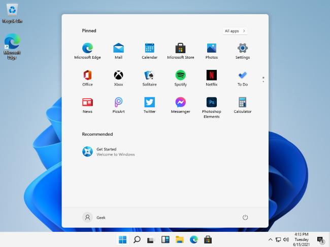 Windows 11's leaked Start menu