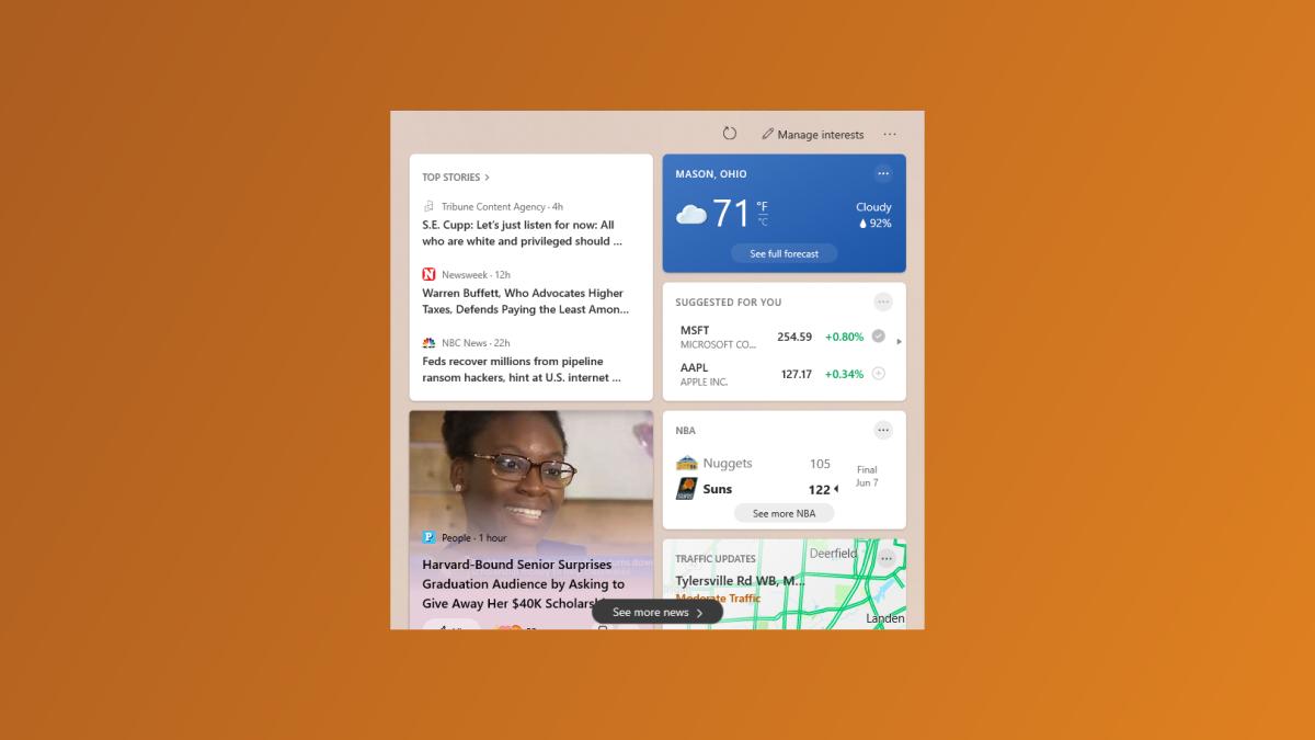 Actualités et météo de Windows 10.
