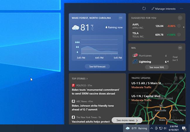 The Windows 10 News and Information Taskbar Widget