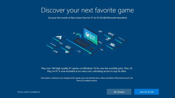 Windows 10's Setup Process Gets Ads for Xbox Game Pass
