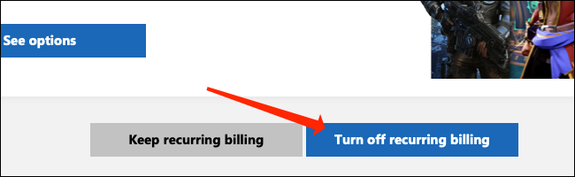"""Select """"Turn off Recurring Billing."""""""