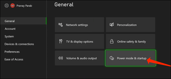 """To access the complete shut down option, select """"Power Mode & Startup"""" in the General section of Xbox settings."""