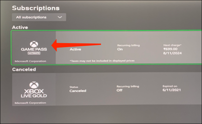 """Select """"Game Pass"""" from the Subscriptions list."""
