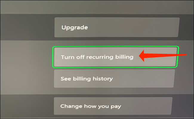"""Select """"Turn Off Recurring Billing"""" to stop automatic payments for Xbox Game Pass."""