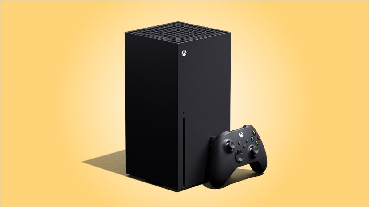 Xbox Series X against a yellow gradient background.