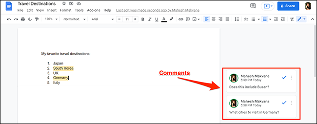A Google Docs document with comments.