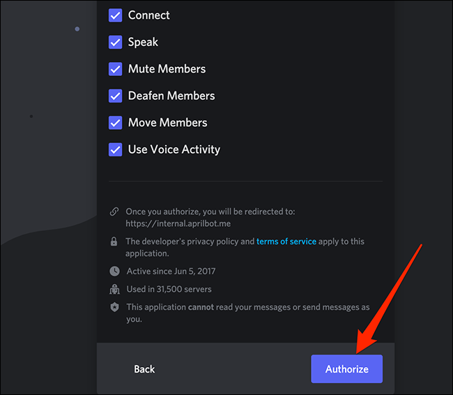 """Click """"Authorize"""" on the permissions screen in Discord."""