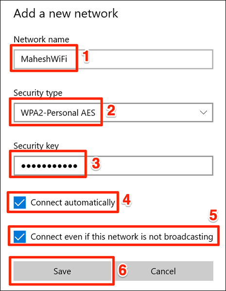 """Enter the hidden Wi-Fi network details and click """"Save."""""""