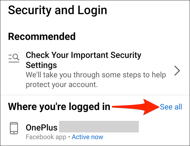 """Tap """"See All"""" on the """"Security and Login"""" page in the Facebook app."""