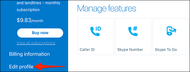 """Select """"Edit Profile"""" from the """"My Account"""" page on the Skype site."""