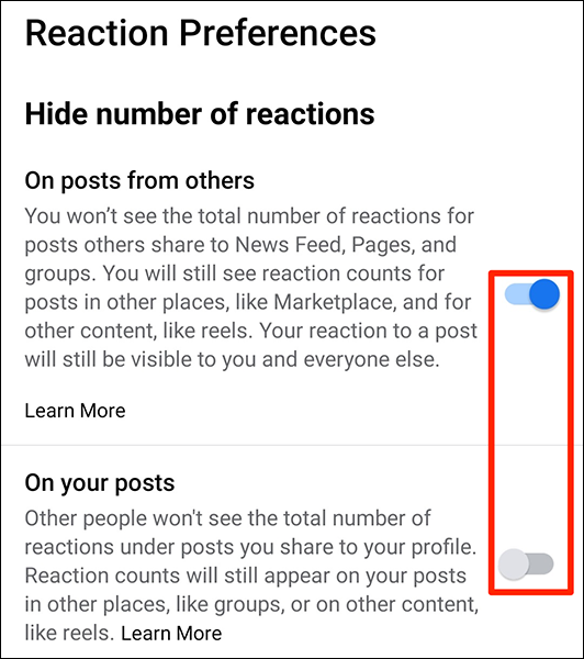 Oculte contagens semelhantes usando o aplicativo do Facebook.