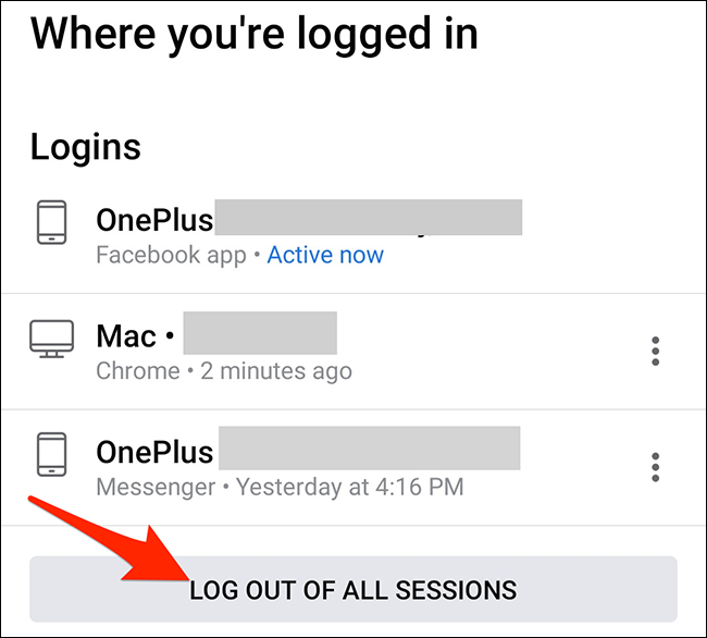 """Tap """"Log Out of All Sessions"""" in the Facebook app."""