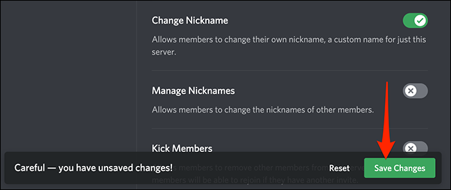 """Click """"Save Changes"""" on Discord."""