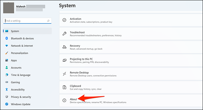 """Select """"About"""" in """"System"""" settings on Windows 11."""
