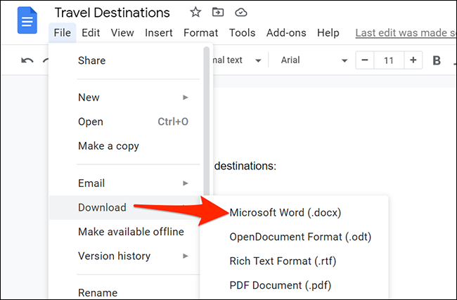 Select File > Download > Microsoft Word from Google Docs' menu bar.