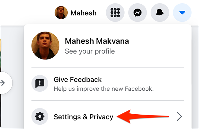 """Select """"Settings & Privacy"""" on the Facebook site."""