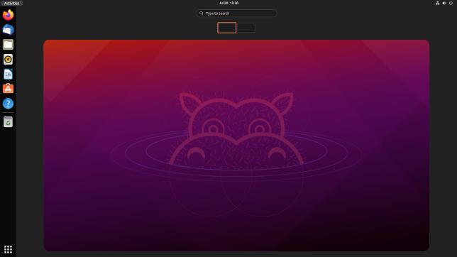 The activities view in Ubuntu 21.10, pre-release