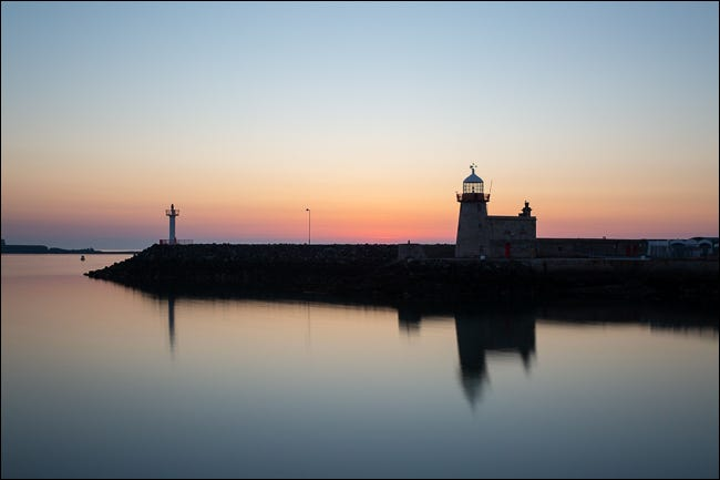 light house at blue hour