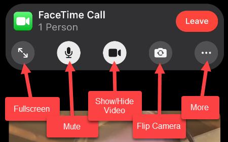 FaceTime video controls including Fullscreen, Mute, Show/Hide Video, Flip Camera, and More.