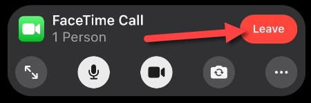 """Tap the """"Leave"""" button to hang up the video call."""