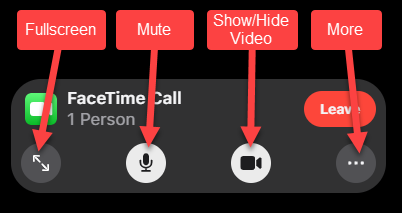 Video call options including Fullscreen, Mute, Show/Hide Video, and More.