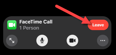 """Click """"Leave"""" when you want to end the call."""