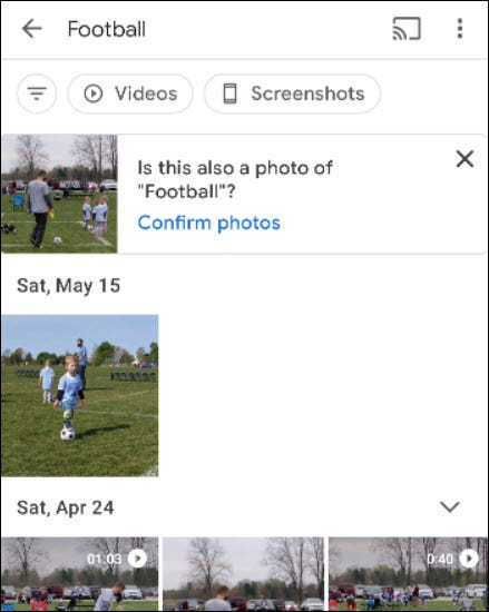 Google Photos random results.