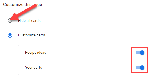 Customize the cards or turn them all off.