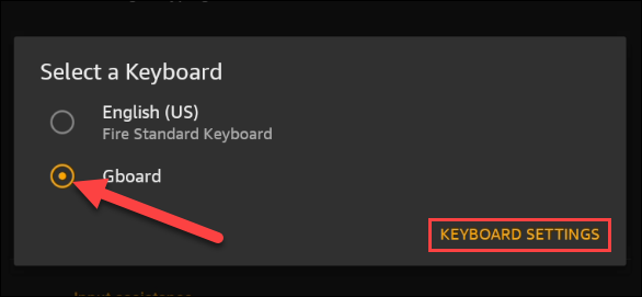 Select the newly installed keyboard from the menu.
