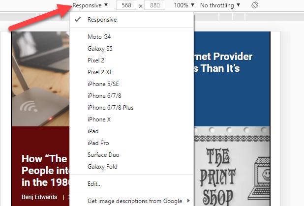 Fare clic sul menu a discesa per modificare i dispositivi.