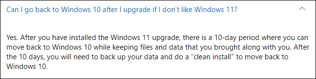 Can I go back to Windows 10 after I upgrade if I don't like Windows 11?