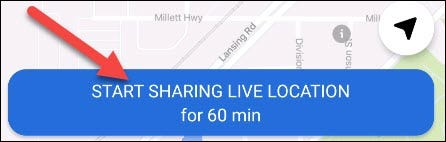 """Simply tap """"Start Sharing Live Location."""""""