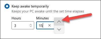 If you select the temporary mode, you can use the boxes below to select the hours and minutes.
