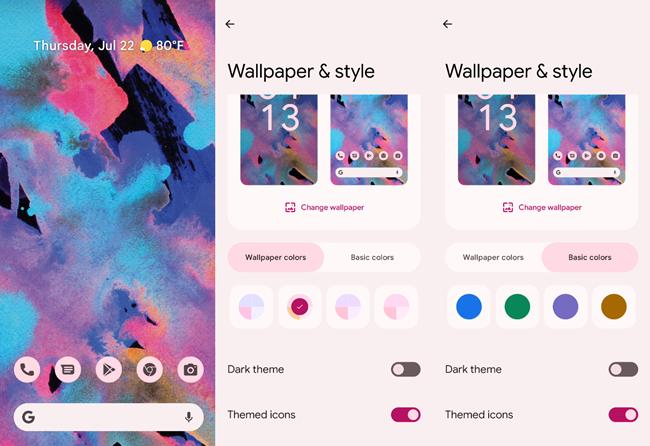 Android 12 lựa chọn màu sắc.