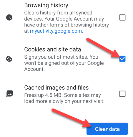 """Make sure """"Cookies and Site Data"""" is toggled on and tap """"Clear Data."""""""