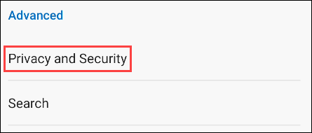 """Select the """"Privacy and Security"""" section."""