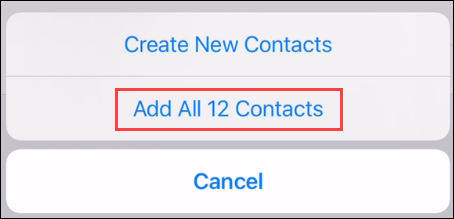 "Confirme ""Adicionar todos os contatos""."